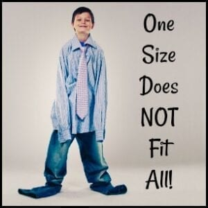 "a boy with adult clothes on ""one size does not fit all"